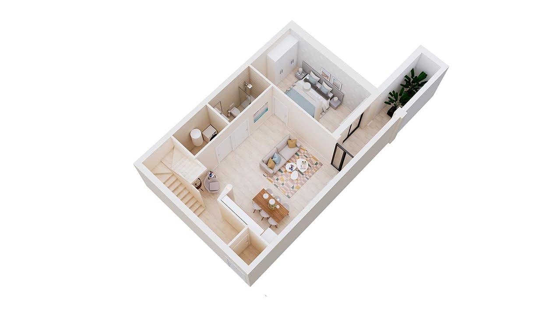 Mediterranean-Views-II-Opcion-Cocina-Dormitorio-Planta-3D